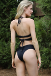 black ruched high cut Brazilian bikini bottoms