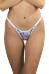floral brazilian string bikini adjustable underwear