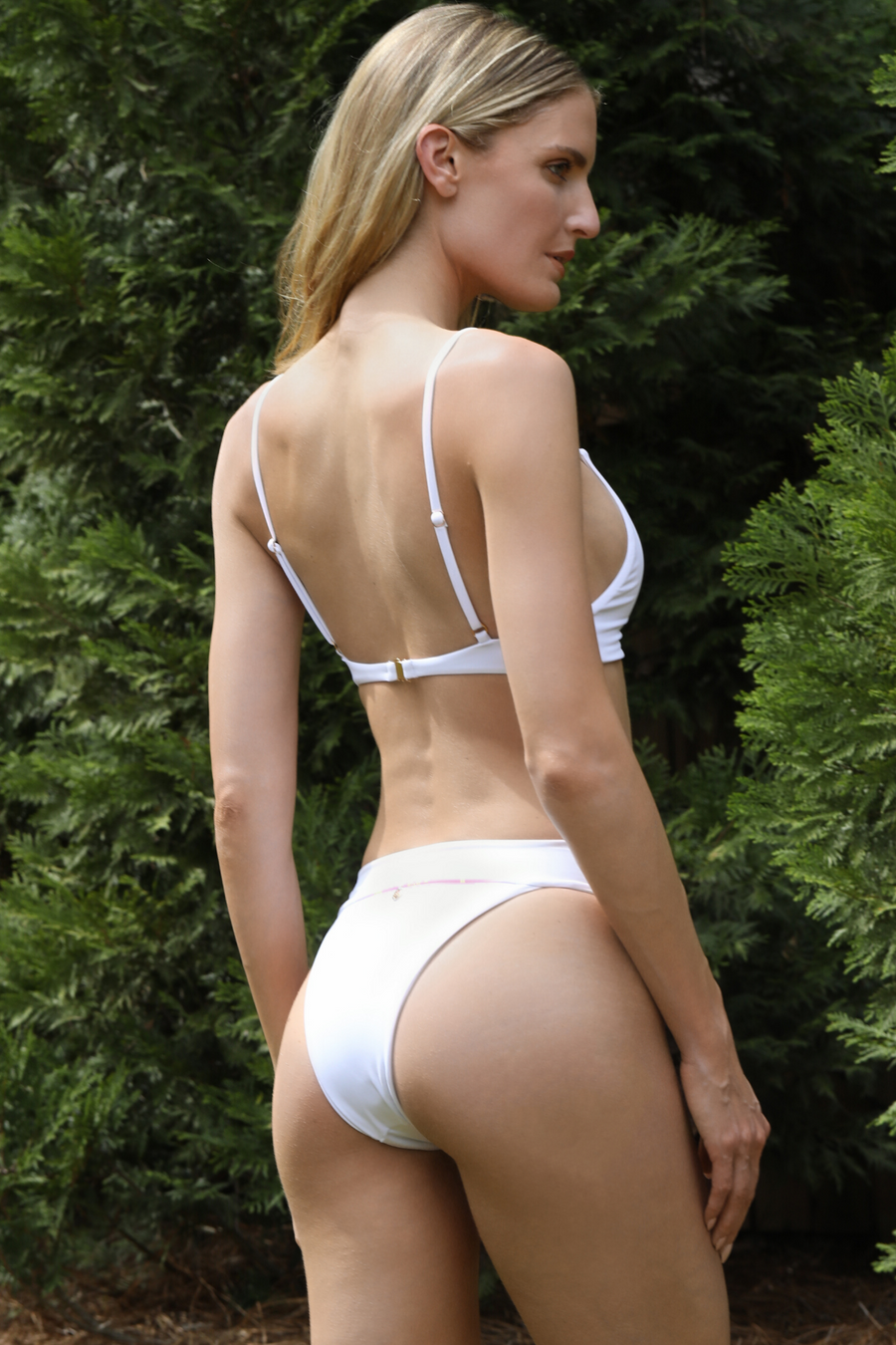 white triangle bikini top with loop. 2020 swimwear