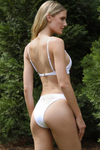 white high cut w waist Brazilian bikini bottoms with loop
