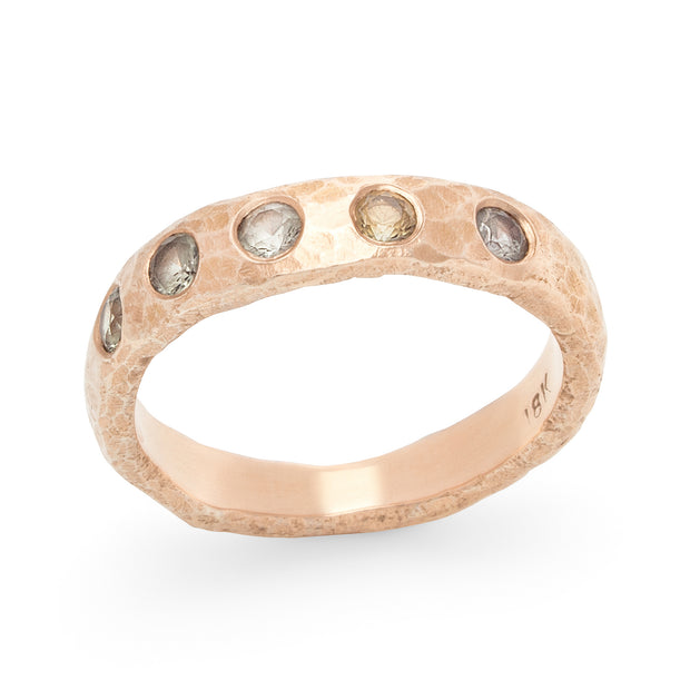 Narrow Hammered Band - Rose