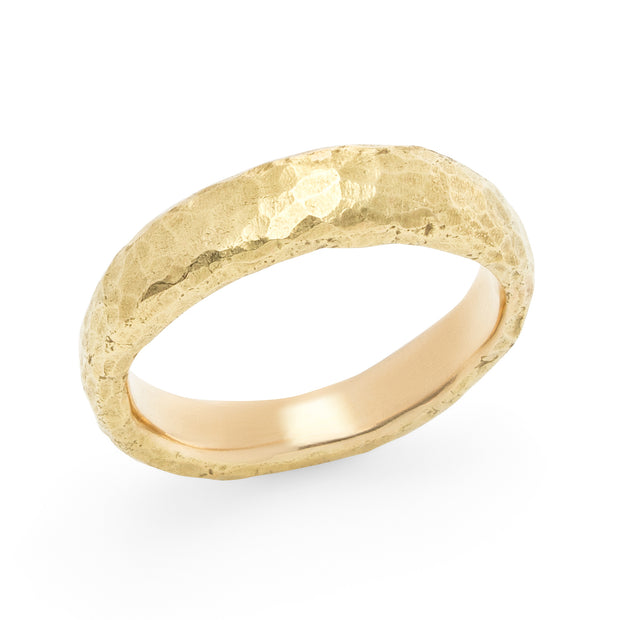 Narrow Hammered Band - Yellow