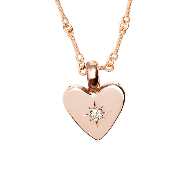 Small Classic Heart Necklace - Rose