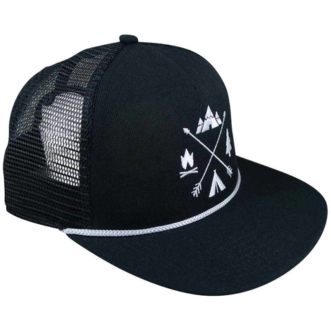 X-Arrows Flat Trucker Hat (All Black)