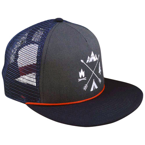 X-Arrows Flat Trucker Hat (Navy and Grey)
