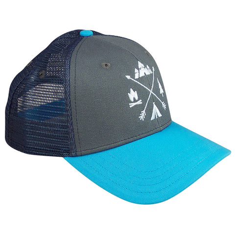 X-Arrows Curved Trucker (Grey and Aqua)