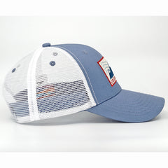 Three Mountain Curved Trucker (White/Blue)