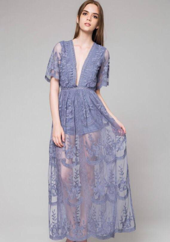 Carlota Embroidered Lace Dress - Dusty Blue - LaPerlaMX