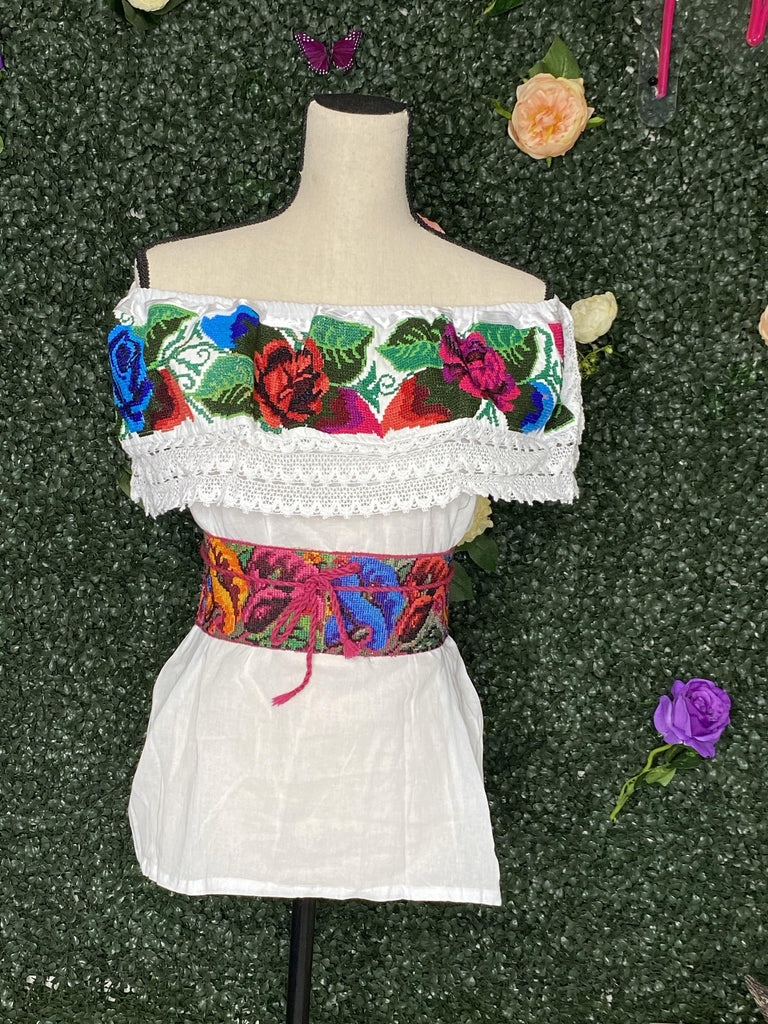 COQUETA Punto de Cruz off the shoulder Top - Blanca - LaPerlaMX, ,[Mexican_Huaraches], [Huarache_Sandals], [Huaraches_Mexicanos], [Lace-up_Huaraches], [Leather_Huaraches], [Leather_sandals], [Handmade_sandals], [Handmade_Huaraches], [Mexican_Dresses], [Mexican_Clothing], [Mexican_shoes], [Mexican_Sandals], [women's_huarche_sandals], [Handwoven_Sandals]
