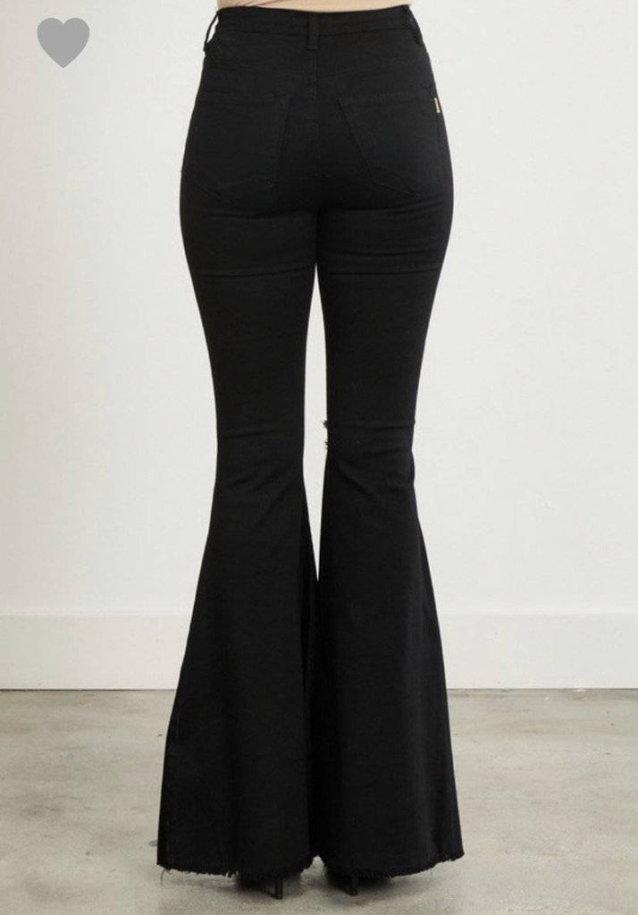 EXTRA BELL BOTTOM JEANS- Black - LaPerlaMX