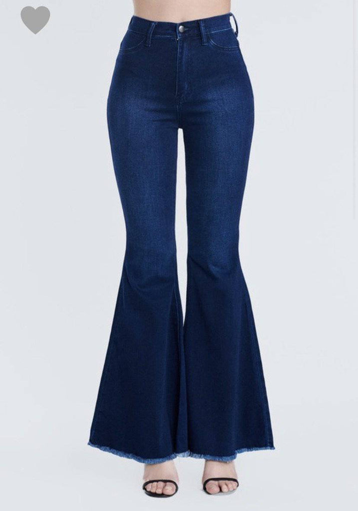 EXTRA BELL BOTTOM JEANS- Dark wash - LaPerlaMX