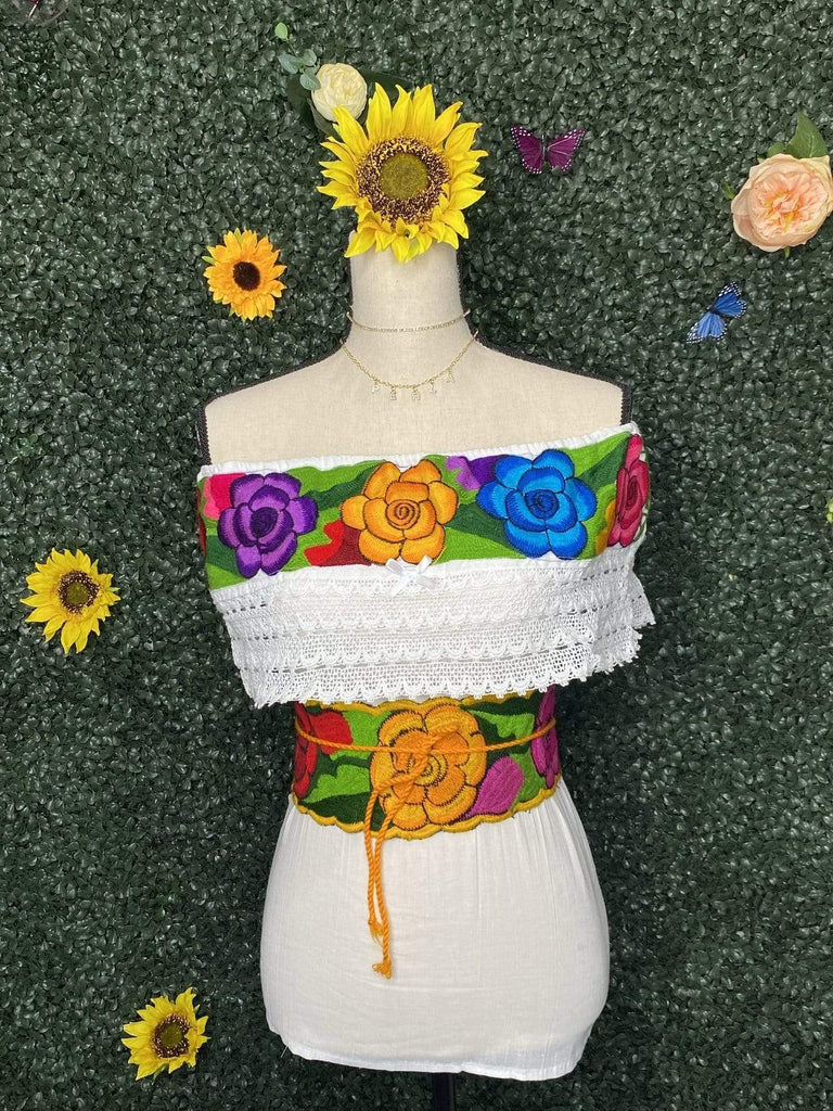 Flor de Campo off the shoulder Top w/Fajin - LaPerlaMX, ,[Mexican_Huaraches], [Huarache_Sandals], [Huaraches_Mexicanos], [Lace-up_Huaraches], [Leather_Huaraches], [Leather_sandals], [Handmade_sandals], [Handmade_Huaraches], [Mexican_Dresses], [Mexican_Clothing], [Mexican_shoes], [Mexican_Sandals], [women's_huarche_sandals], [Handwoven_Sandals]