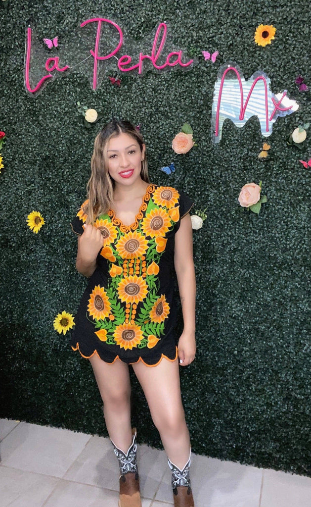 GIRASOL embroidered Mini dress - LaPerlaMX, ,[Mexican_Huaraches], [Huarache_Sandals], [Huaraches_Mexicanos], [Lace-up_Huaraches], [Leather_Huaraches], [Leather_sandals], [Handmade_sandals], [Handmade_Huaraches], [Mexican_Dresses], [Mexican_Clothing], [Mexican_shoes], [Mexican_Sandals], [women's_huarche_sandals], [Handwoven_Sandals]
