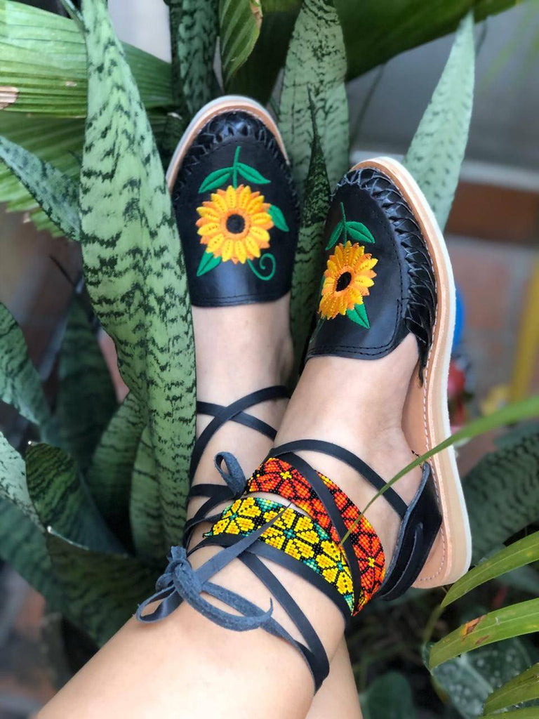 Girasol Lace-Up Black Huarache Sandals - LaPerlaMX, ,[Mexican_Huaraches], [Huarache_Sandals], [Huaraches_Mexicanos], [Lace-up_Huaraches], [Leather_Huaraches], [Leather_sandals], [Handmade_sandals], [Handmade_Huaraches], [Mexican_Dresses], [Mexican_Clothing], [Mexican_shoes], [Mexican_Sandals], [women's_huarche_sandals], [Handwoven_Sandals]