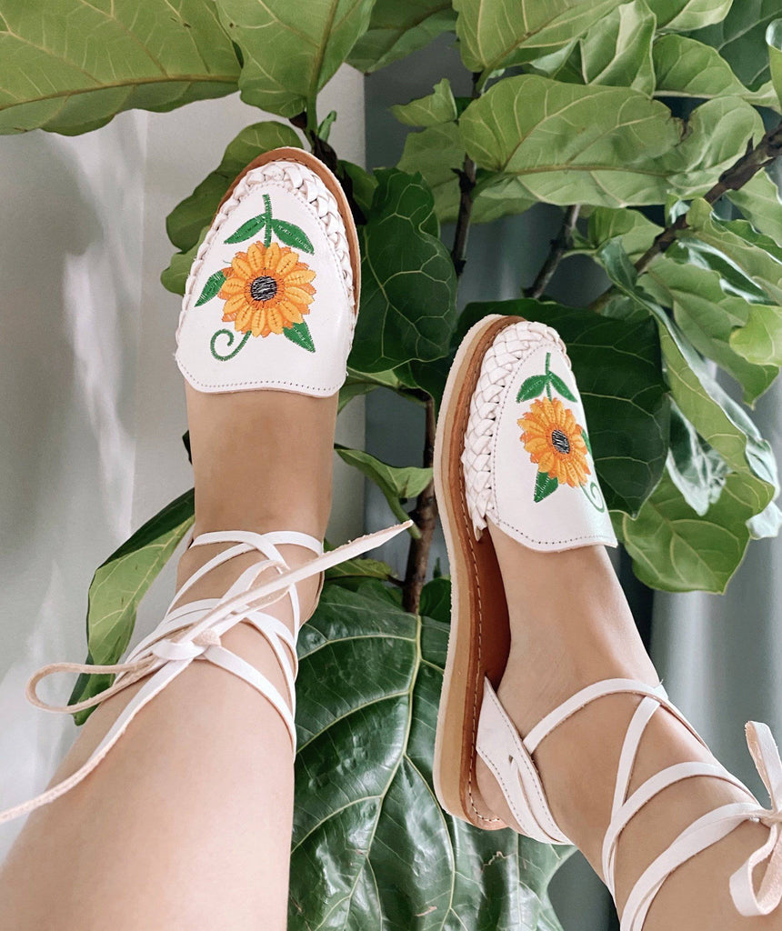 Girasol Lace-Up White Huarache Sandals - LaPerlaMX