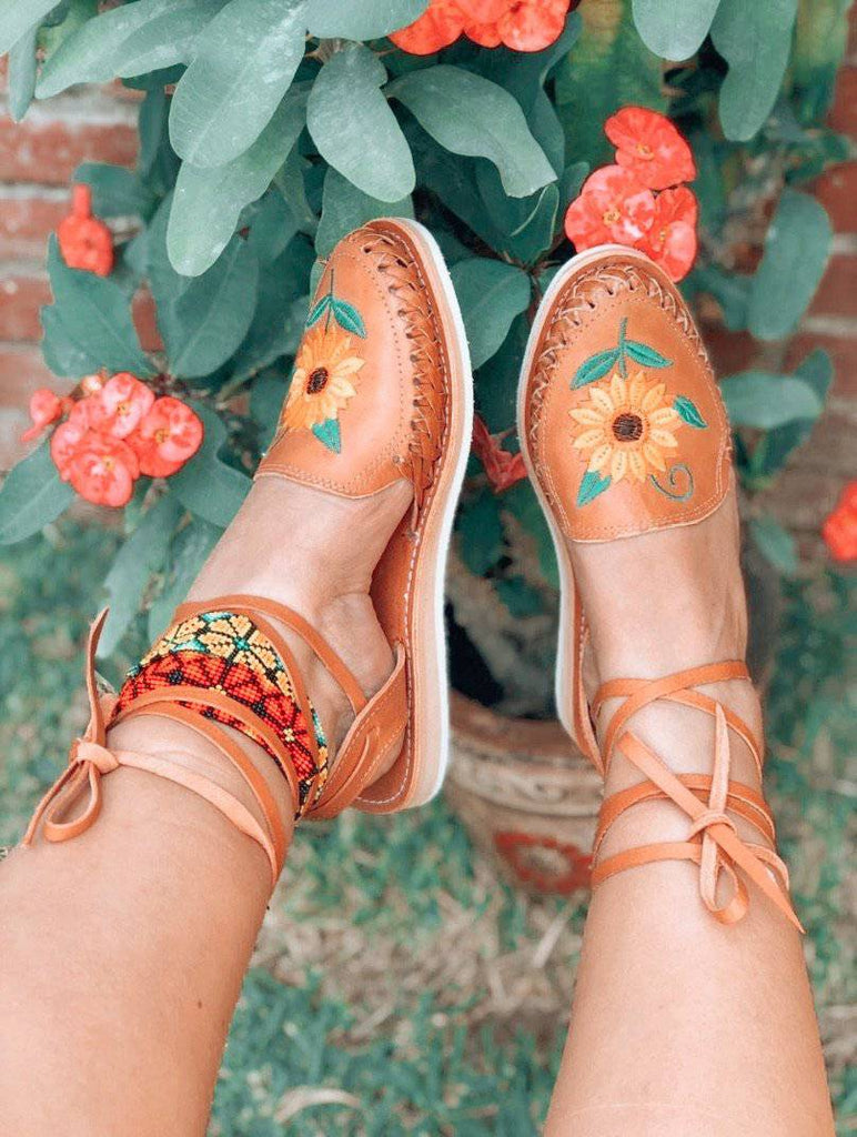 Girasol Tan Lace-Up Huarache Sandals - LaPerlaMX