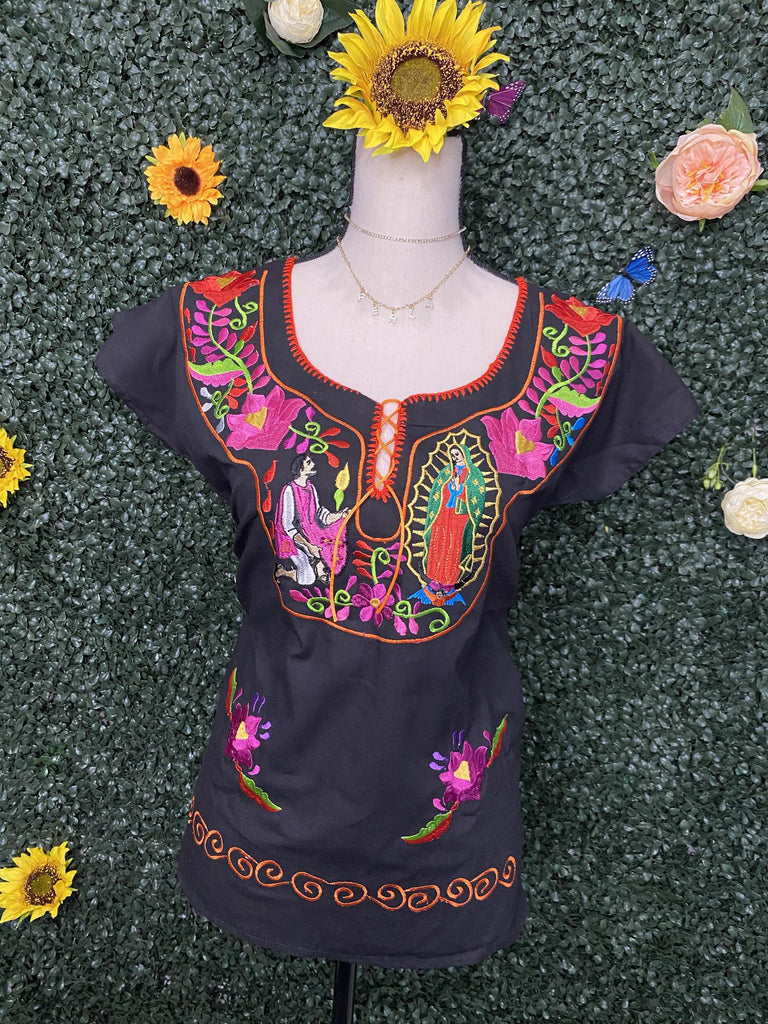 Guadalupana & Juan Diego embroidered Top - LaPerlaMX