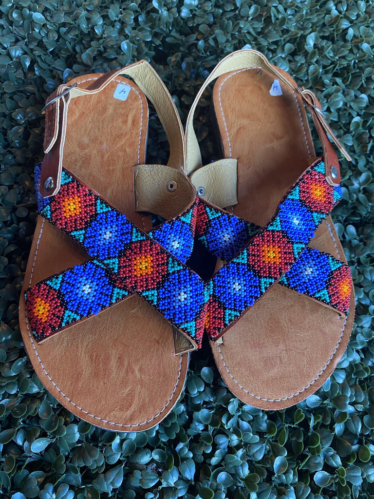 Huichol Huarache Cruzado - Size 7 (Runs Small) - LaPerlaMX, ,[Mexican_Huaraches], [Huarache_Sandals], [Huaraches_Mexicanos], [Lace-up_Huaraches], [Leather_Huaraches], [Leather_sandals], [Handmade_sandals], [Handmade_Huaraches], [Mexican_Dresses], [Mexican_Clothing], [Mexican_shoes], [Mexican_Sandals], [women's_huarche_sandals], [Handwoven_Sandals]