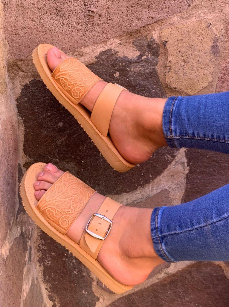 Tulum Leather Huarache Slides - Tan