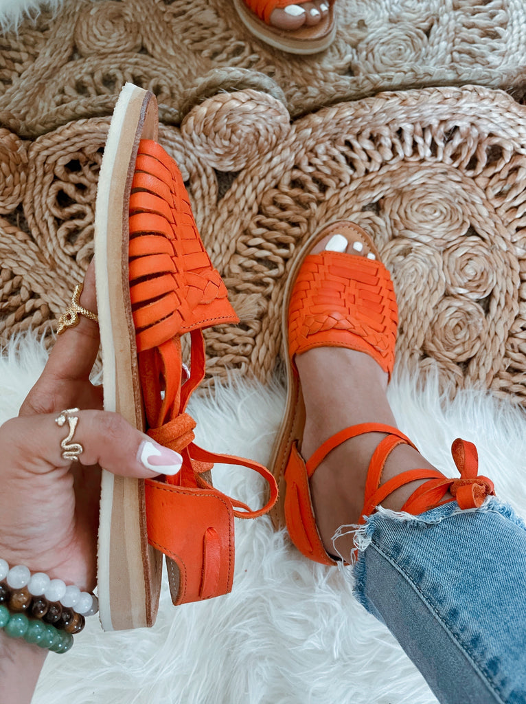 Mirinda Orange Lace-Up Huarache Sandals - LaPerlaMX