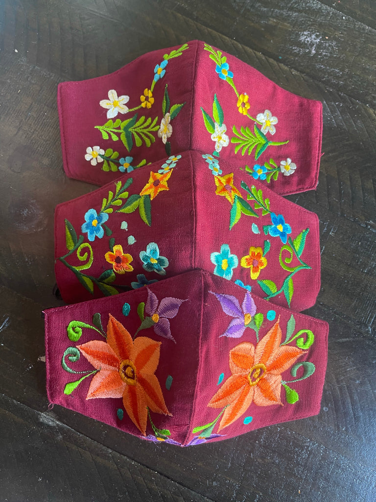Mexican Embroidered Face Mask - Burgundy