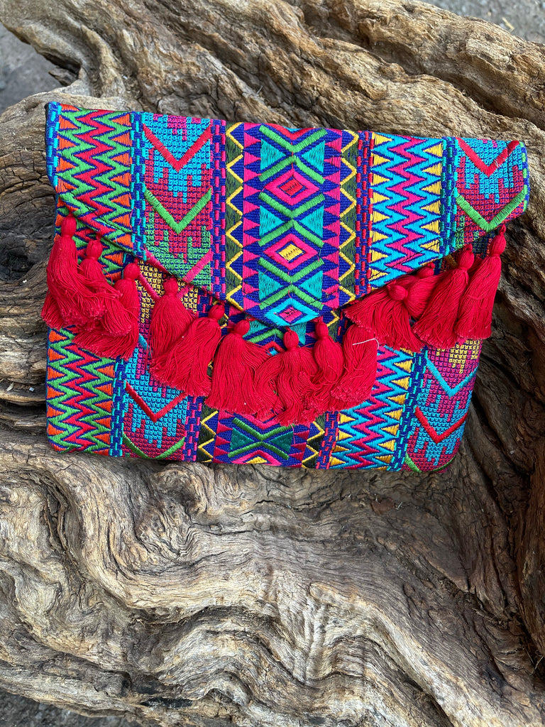 Azteca Embroidery Crossbody Bag - Red