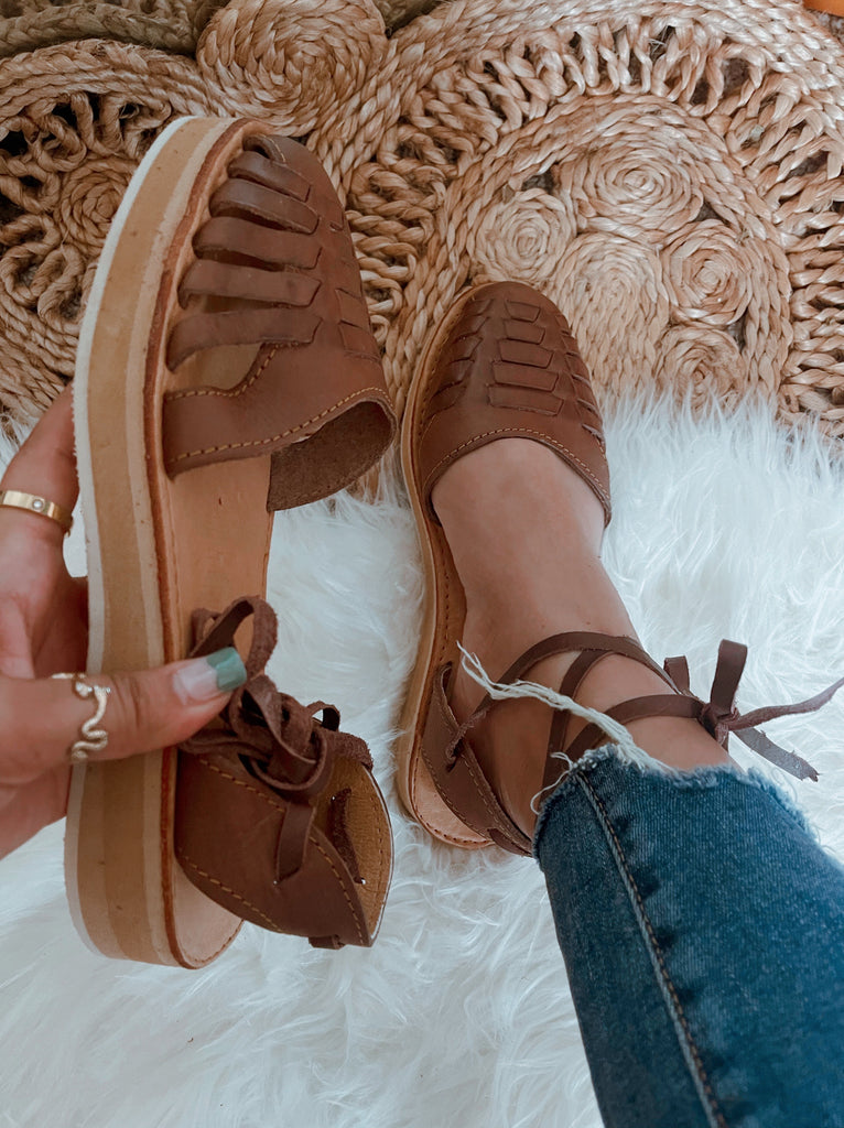 Cely Lace-Up Huaraches - Coco