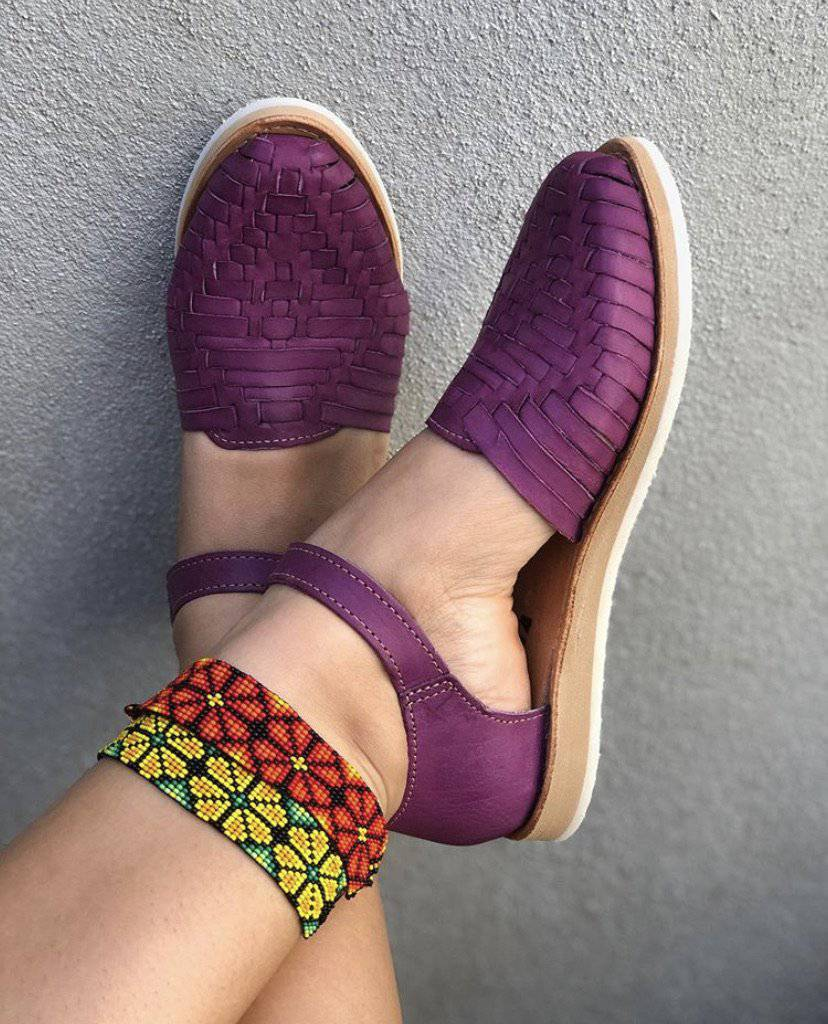 Juliana Plum Huarache Sandal - LaPerlaMX