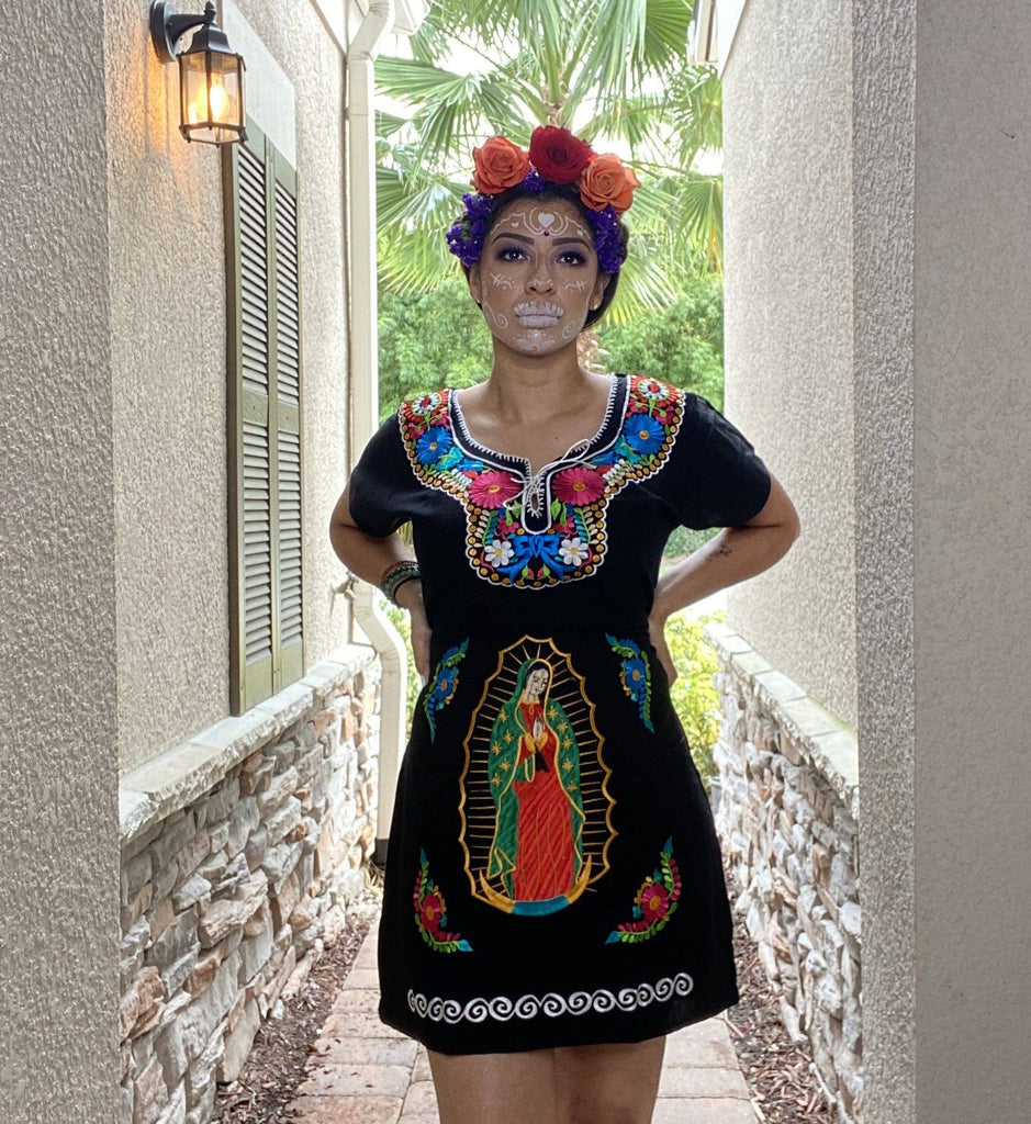 La Guadalupana Embroidered Dress - LaPerlaMX