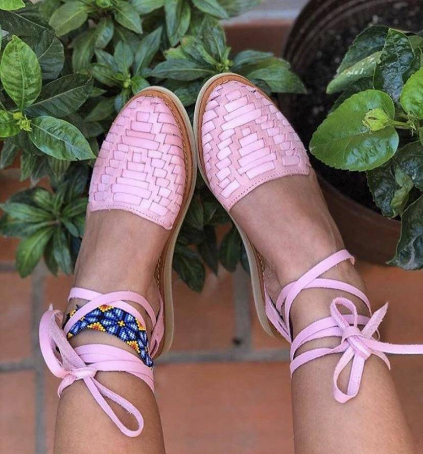 La Perla Pastel Pink Lace-Up Huarache Sandals - LaPerlaMX, ,[Mexican_Huaraches], [Huarache_Sandals], [Huaraches_Mexicanos], [Lace-up_Huaraches], [Leather_Huaraches], [Leather_sandals], [Handmade_sandals], [Handmade_Huaraches], [Mexican_Dresses], [Mexican_Clothing], [Mexican_shoes], [Mexican_Sandals], [women's_huarche_sandals], [Handwoven_Sandals]