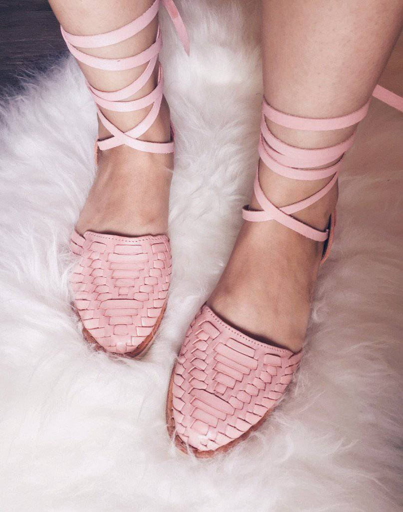 La Perla Pastel Pink Lace-Up Huarache Sandals - LaPerlaMX