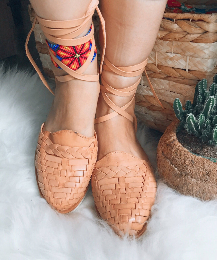 La Perla Trenzado Tan Lace-Up Huarache Sandals - LaPerlaMX