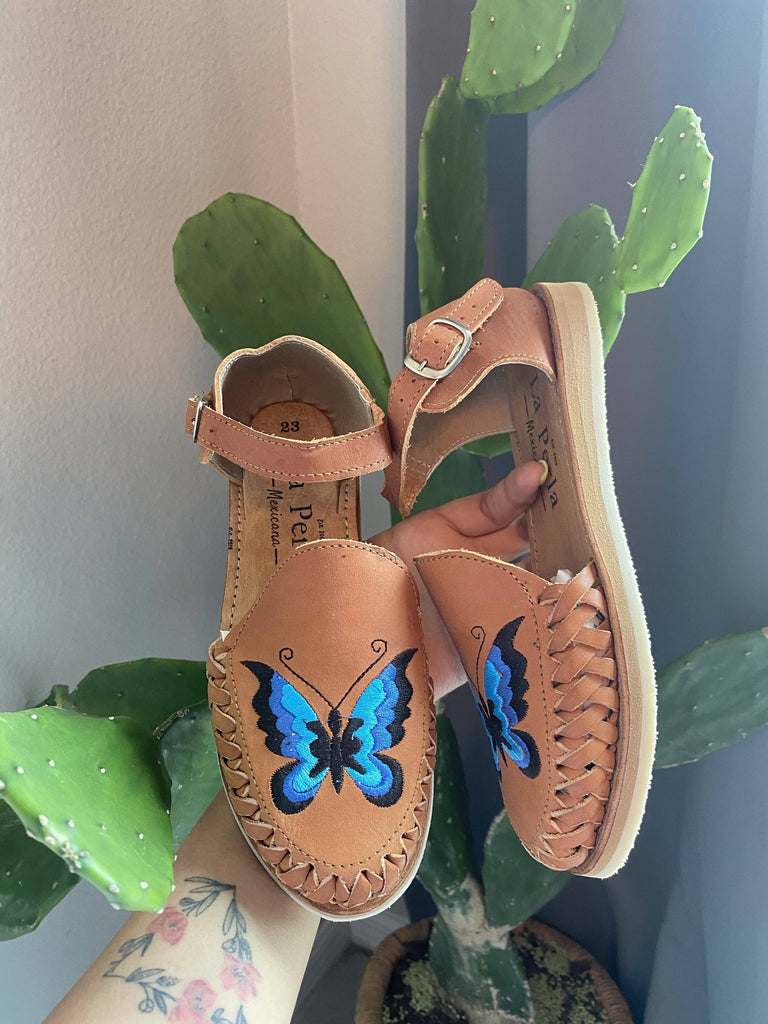Mariposa Tan Huarache Sandals - LaPerlaMX