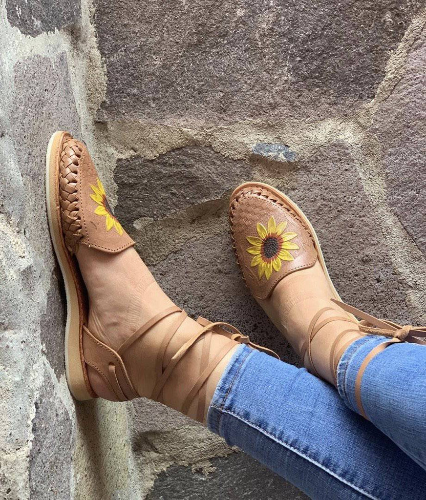 Mirasol  Lace-Up Tan Huarache Sandals - LaPerlaMX