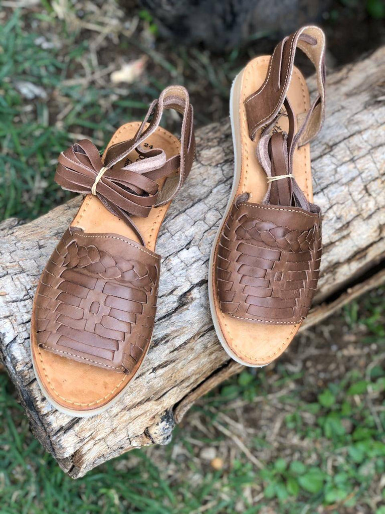 Mirinda Lace-Up Brown Huarache Sandals - LaPerlaMX