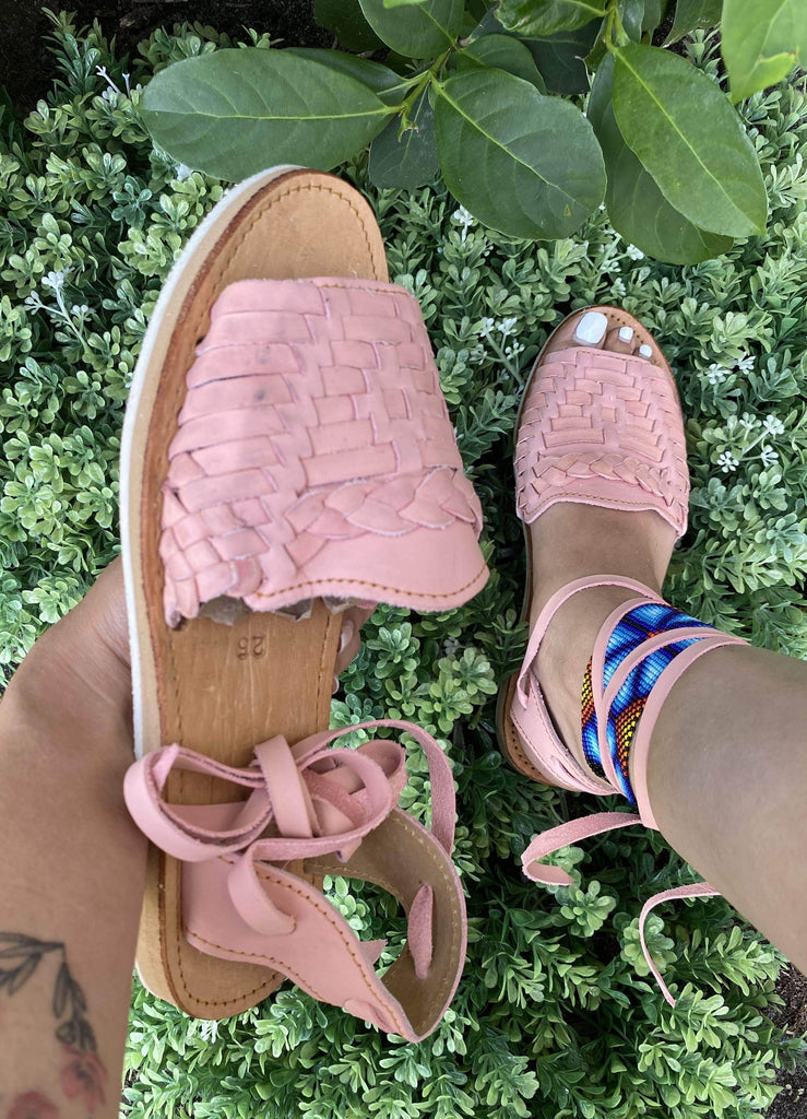 Mirinda Pastel Pink Lace-Up Huarache Sandals - LaPerlaMX
