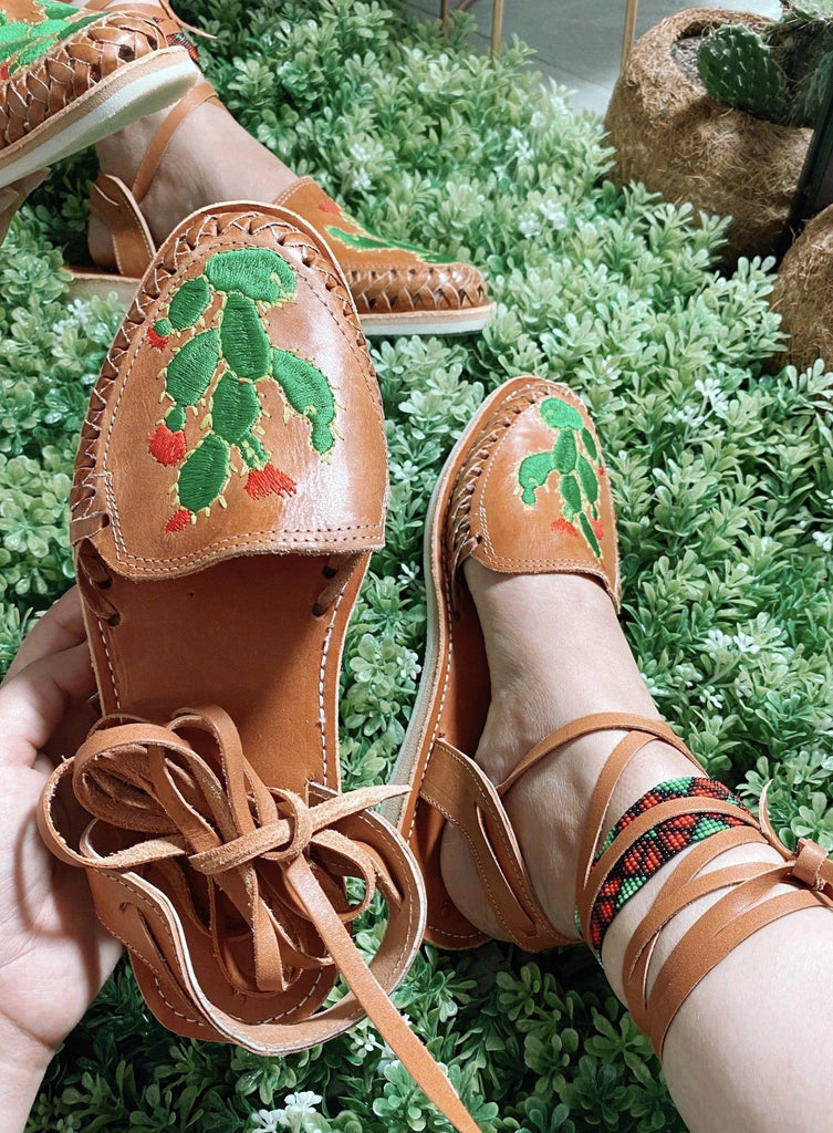 Nopal Lace-Up Huarache Sandals - LaPerlaMX