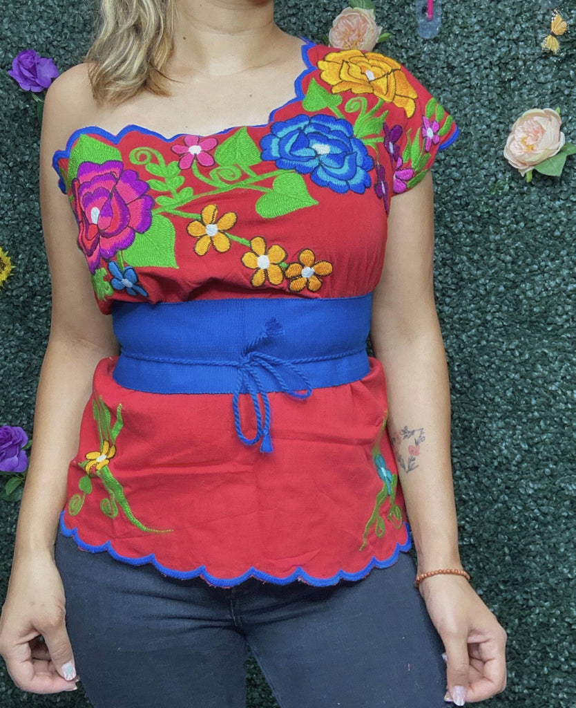 One Shoulder Embroidered Campesina Top - Red - LaPerlaMX, ,[Mexican_Huaraches], [Huarache_Sandals], [Huaraches_Mexicanos], [Lace-up_Huaraches], [Leather_Huaraches], [Leather_sandals], [Handmade_sandals], [Handmade_Huaraches], [Mexican_Dresses], [Mexican_Clothing], [Mexican_shoes], [Mexican_Sandals], [women's_huarche_sandals], [Handwoven_Sandals]