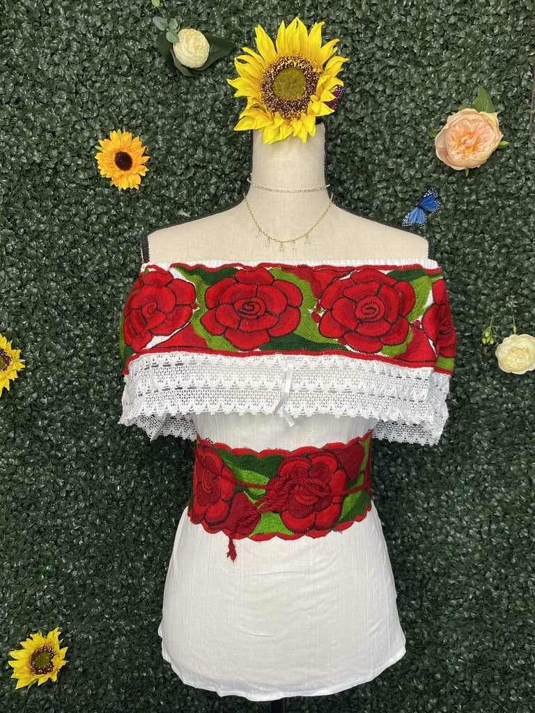 Rosa Salvaje embroidered off the shoulder Top w/Fajin - LaPerlaMX, ,[Mexican_Huaraches], [Huarache_Sandals], [Huaraches_Mexicanos], [Lace-up_Huaraches], [Leather_Huaraches], [Leather_sandals], [Handmade_sandals], [Handmade_Huaraches], [Mexican_Dresses], [Mexican_Clothing], [Mexican_shoes], [Mexican_Sandals], [women's_huarche_sandals], [Handwoven_Sandals]