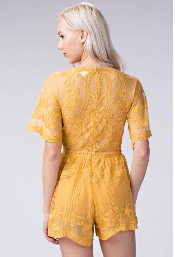 Solecito Embroidered Lace Romper - LaPerlaMX