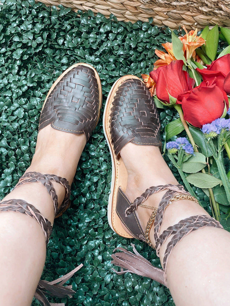 Tassel Lace-Up Brown  Huarache Sandals - LaPerlaMX, ,[Mexican_Huaraches], [Huarache_Sandals], [Huaraches_Mexicanos], [Lace-up_Huaraches], [Leather_Huaraches], [Leather_sandals], [Handmade_sandals], [Handmade_Huaraches], [Mexican_Dresses], [Mexican_Clothing], [Mexican_shoes], [Mexican_Sandals], [women's_huarche_sandals], [Handwoven_Sandals]