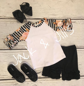black and gold glitter raglan