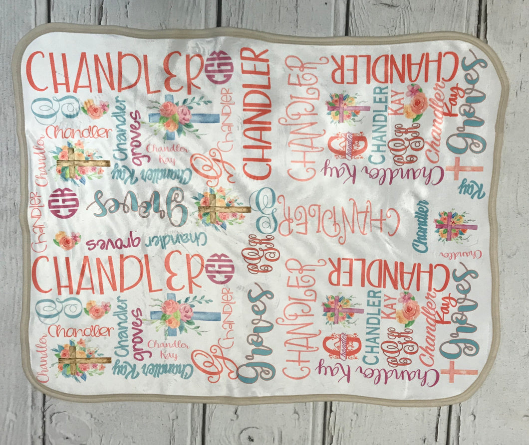 Watercolor cross name blanket