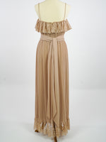 BEAUTIFUL 1970's LATTE EVENING WEAR FORMAL DRESS SIZE 10