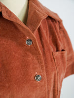 1970s BURNT CORAL HANDMADE CORDUROY BUTTON UP SIZE M/L