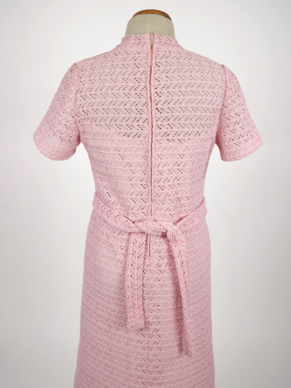 1960s MOD BABY PINK CROCHET DRESS