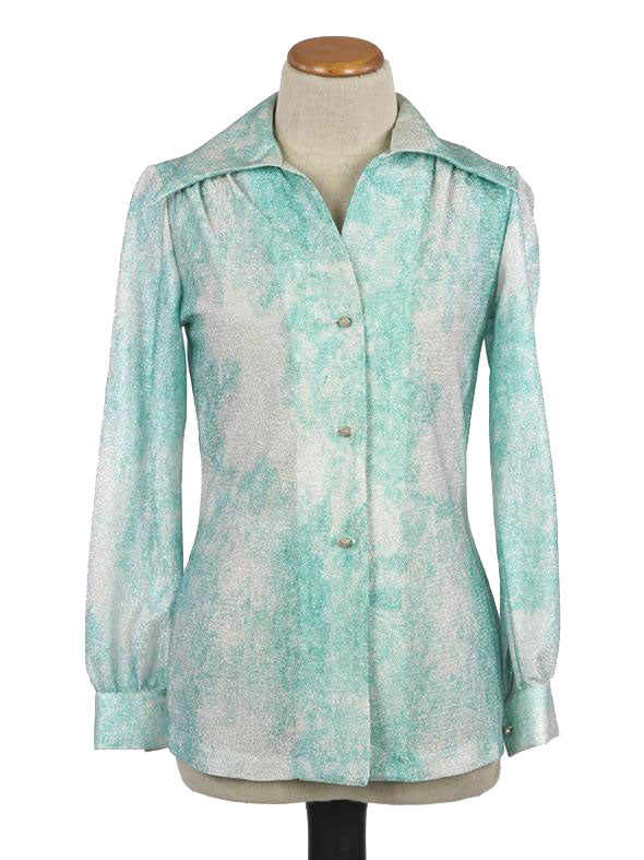 1970s DISCO METALLIC SEA GREEN LONG SLEEVE BLOUSE SIZE 8