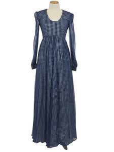 1970s HANDMADE NAVY GINGHAM SHEER LONG SLEEVE MAXI DRESS WITH MATCHING PURSE XS