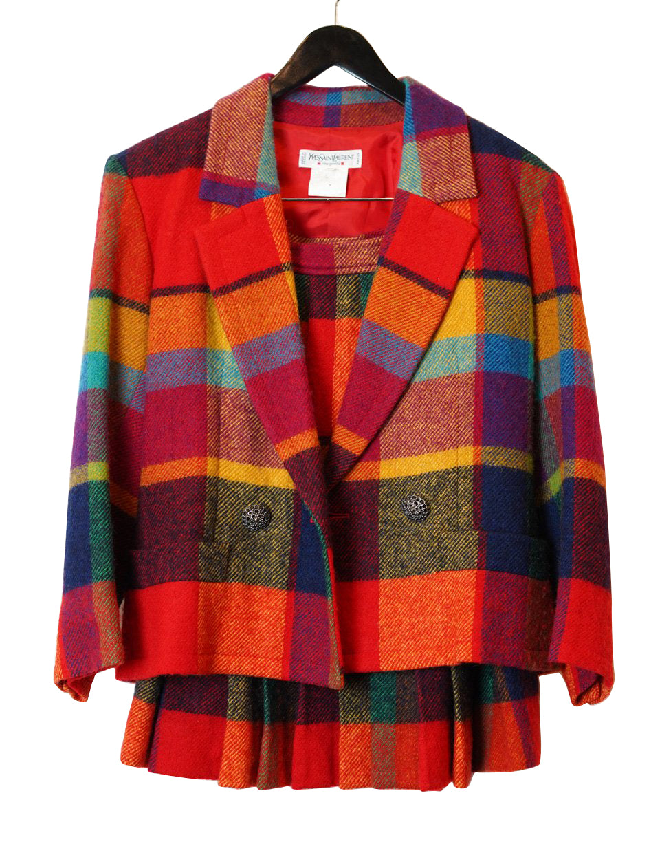 YVES SAINT LAURENT YSL RAINBOW PLAID TWO PIECE SKIRT SUIT SIZE 8