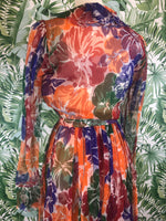 Incredible 1970s YVES SAINT LAURENT Floral Silk Chiffon Maxi Dress Size 4
